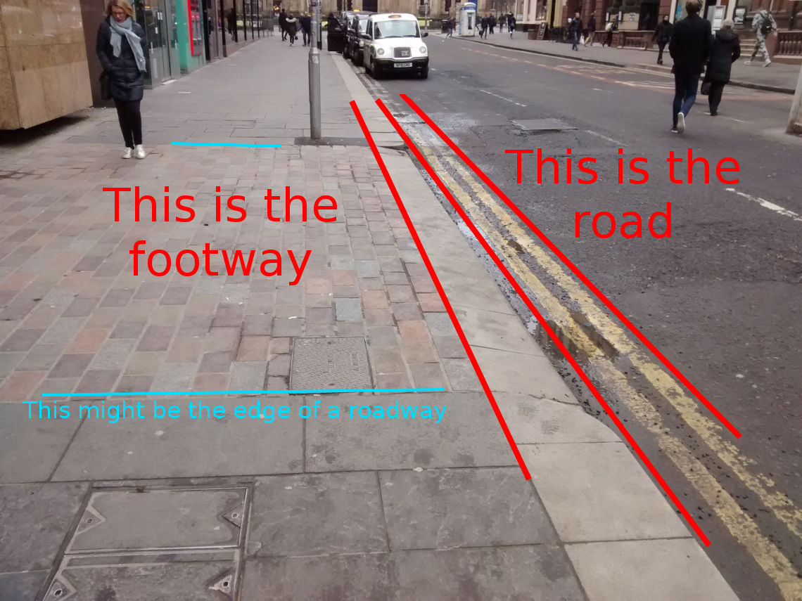 Image shows a photo of a continuous footway in Glasgow with lines drawn on it to emphasise that it works well, but that there are some things that make it look a little like a piece of the road.