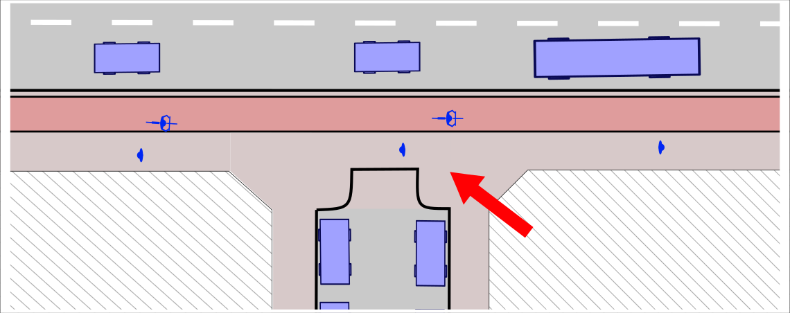 Image shows a plan of a junction between major and minor road with major road footway cutting across minor road entrance.