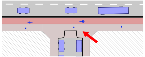 Image shows a plan of a junction between a major and minor road where the footway of the major road, and a cycle track beside it, continue unbroken across the entrance of the side road.