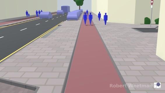 D2: Along footway