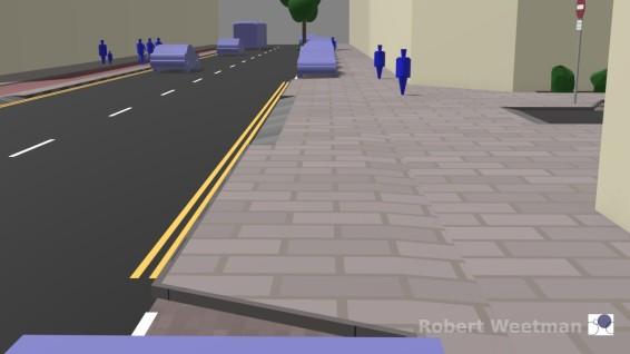 D1: Along footway