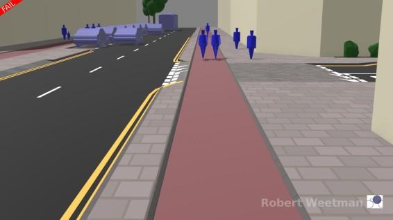 D5: Along footway